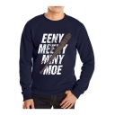 Mens Basic Round Neck Long Sleeve Letter Graphic Printed Pullover Sweatshirt