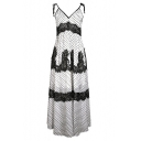 Hot Fashion Plunge Neck Bow Sleeveless Polka Dot Printed Lace Cutout Maxi Slip Black Dress