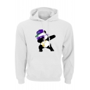 Mens Funny Cartoon Panda with Cap Printed Long Sleeve Loose Fit Drawstring Hoodie