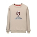 Cartoon Girl Printed Round Neck Long Sleeve Pullover Sweatshirt
