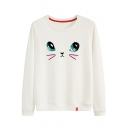 Cartoon Eyes Printed Round Neck Long Sleeve Sweatshirt