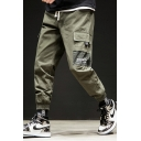 Mens New Stylish Letter Pocket Side Drawstring Waist Elasticized Cuff Loose Casual Cargo Pants