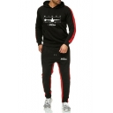 Mens New Fashion Colorblock Hoodie with Loose Fit Sweatpants Sport Two-Piece Set