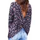 Womens New Trendy Navy Leopard Printed Long Sleeve Twist Back Casual Loose T-Shirt