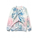 Stylish Pisces Carp Fish Printed Basic Round Neck Long Sleeve Pullover Sweatshirt