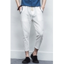 Men's Summer Chic Floral Embroidery Pocket Drawstring Waist Cotton Capri Pants Tapered Pants