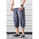 Guys Summer Casual Loose Linen Cropped Pants Trousers