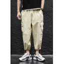 Mens Trendy Simple Plain Drawstring Waist Drawcord Cuff Linen Loose Cargo Pants