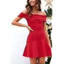Womens Chic Elegant Off the Shoulder Solid Color Mini A-Line Evening Dress