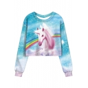 Trendy Rainbow Unicorn Printed Round Neck Long Sleeve Cropped Blue Sweatshirt