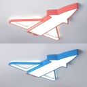 Acrylic Airplane Ceiling Mount Light Creative Blue/Pink LED Ceiling Lamp in Warm/White for Child Bedroom