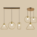 3 Lights Wire Frame Island Light Simple Style Metal Linear/Round Pendant Light in Gold for Bedroom