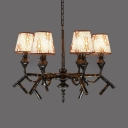 Brown Tapered Shade Chandelier 6 Lights Traditional Fabric Metal Hanging Lamp for Living Room