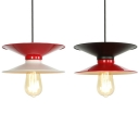 1 Light Saucer Pendant Light Industrial Metal Hanging Lamp in Black & Red/White & Red for Bedroom