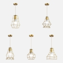Nordic Style Cage Pendant Lamp Single Light Metal Hanging Light in Gold for Dining Room