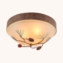Frosted Glass Dome Flush Ceiling Light with Pine Cone 3 Lights Rustic Style Ceiling Lamp in Rust for Foyer