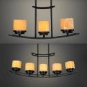 Cafe Flameless Candle Pendant Light Metal 3/5 Lights Industrial Black Island Light
