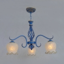 Black/Blue Suspension Light with Flower 3/5/6 Lights Antique Style Opal Glass Chandelier for Hotel