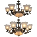 Traditional Dome Flower Chandelier 9/11 Lights Metal Glass Hanging Lighting in White for Hotel