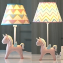 1 Light Unicorn Desk Light Cartoon Resin Dimmable Study Light in Pink for Girl Bedroom
