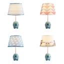 Kid Bedroom Elephant LED Desk Light Fabric Resin 1 Light Animal Blue Dimmable Reading Light