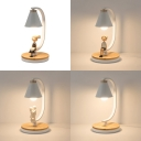 Metal Cone Shade LED Desk Light 1 Light Modern Night Light in White for Child Bedroom
