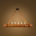 Bamboo Cylinder Pendant Light with Candle & Rope 5 Lights Rustic Hanging Light in Beige for Shop
