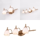 2/3/4 Lights Flower Vanity Light Rust-Proof Opal Glass Wall Lamp in Brass for Dressing Room