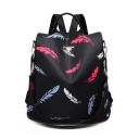 Fashion Women's Feather Pattern Black Waterproof Oxford Cloth Multifunction Leisure Travel Shoulder Bag Backpack 32*32*15 CM