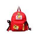 Simple Letter Patchwork Ribbon Embellishment Canvas Varsity Backpack for Girls 35*26*12 CM