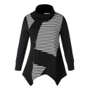 Womens Stylish Striped Printed Funnel Neck Long Sleeve Button Embellished Asymmetrical Hem Black Sweatshirt