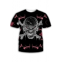 Trendy Floral Skull Pattern Round Neck Short Sleeve Black T-Shirt