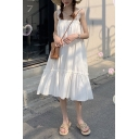 Girls Summer Simple Plain Fancy Ruffled Hem Holiday Midi Swing Strap Dress