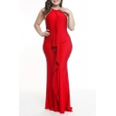 Women's Plus Size Solid Color Fashion Ruffled Hem Sleeveless Floor Length Dress