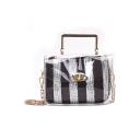 New Stylish Sequin Stripe Pattern Transparent Crossbody Bag Handbag for Women 14*18*8 CM