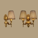 Lattice Tapered Shade Wall Lamp 1/2 Lights Vintage Style Metal Carved Sconce Lamp for Hallway