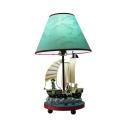 1 Light Ship Reading Lamp Mediterranean Style Resin LED Desk Light in Sky Blue for Teen