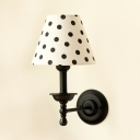 Bedroom Tapered Shade Sconce Light with Dottie/Stripe/Trellis Metal 1 Light Vintage Wall Lamp