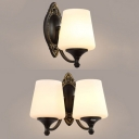 Antique Style Tapered Shade Wall Light Frosted Glass 1/2 Lights Black Sconce Light for Bedroom