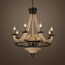 Restaurant Candle Shape Chandelier Manila Rope 6 Lights Antique Style Beige Pendant Light