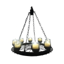 Metal Candle Chandelier with Wheel Cafe 8 Lights Industrial Suspension Light in Matte Black