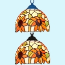 Bedroom Sunflower Pendant Light Stained Glass 1 Light Rustic Style Black/Blue Hanging Light