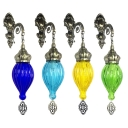 Moroccan Antique Style Wall Sconce Fluted Glass 1 Head Fluted Glass Wall Light for KTV Bar