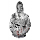 Trendy Ahegao 3D Blood Comic Girl Printed Long Sleeve White Sport Zip Up Hoodie