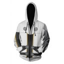 Trend White 3D Comic Cosplay Costume Long Sleeve Relaxed Fit Zip Up Hoodie