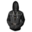 New Trendy Basic Long Sleeve 3D Pattern Cosplay Costume Zip Up Black Hoodie