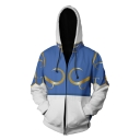 Cool 3D Cosplay Costume Colorblocked Blue and White Long Sleeve Zip Up Hoodie