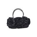 Women's Elegant Ruffled Floral Rhinestone Embellishment Beaded Handle Clutch Handbag 30*18 CM
