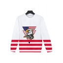 Independence Day Flag Eagle Pattern Round Neck Long Sleeve Pullover Sweatshirt