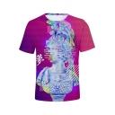 New Trendy Vaporwave Cool 3D Figure Pattern Basic Short Sleeve T-Shirt